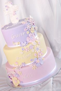 3 Tier Pastel baptism cake | by Say it with Cake