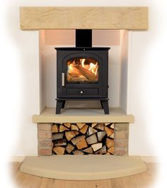 Stone lintel and solid fuel stove