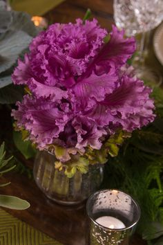 Edible & Ornamental Themed Thanksgiving Tablescape: An ornamental kale in a small vase provides an instant pop of purple to your centerpiece. Ornamental Kale, Thanksgiving Tablescapes, Centerpieces, Table Settings, Vase, Pure Products, Ornaments, Pop, Purple