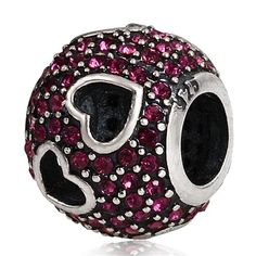 Babao Jewelry Hollow Love Dark Pink CZ Crystals 925 Sterling Silver Bead fits Pandora Style European Charm Bracelets * Find out more details by clicking the image : Charms and Charm Bracelets