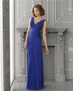 Vestido de madrina largo azul de Aire Barcelona