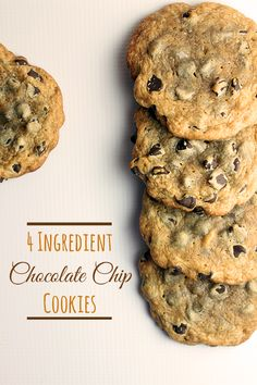 Delicious soft chocolate chip cookies with only 4 ingredients #cookies