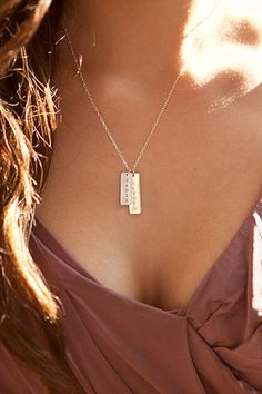 Two Long Tag Name Necklace - I love these!
