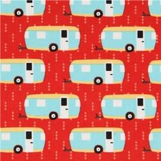 £6.97 red caravan fabric by Robert Kaufman from the USA (per 0.5m multiple)