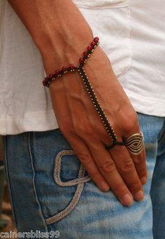 Handmade Macrame Brass & Glass Slave Bracelet Hand Thong Bangle Wrist Band