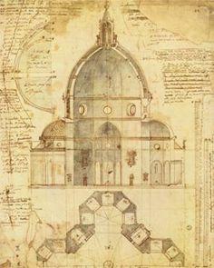 Una verdadera joya, el plano donde Brunelleschi diseño el Duomo de Firenze.