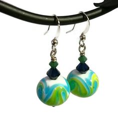 Check out this item in my Etsy shop https://www.etsy.com/listing/214860818/lime-green-earrings-teal-blue-earring