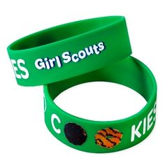 """Girl Scout Scented Cookie Rubber Bracelet- Screenprinted with """"I Love Cookies"""""""