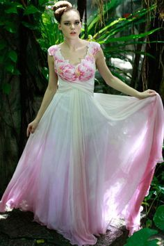 fcb6f57e28 gradient color skirt, bottom edged Ombre Gown, Pink Evening Dress, Evening  Dresses,
