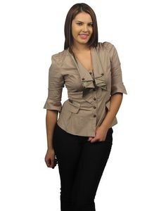 3/4 sleeve button up blouse-id.25997c