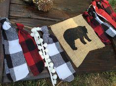 Lumberjack, bear, camping rag tie burlap banner- hunting-Nursery- Baby name banner- Burlap rag tie woodland baby- lumberjack party banner