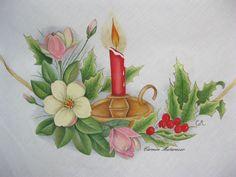 Centro tavola in lino dipinto a mano by Carmen Matarazzo.