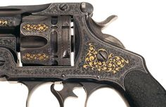 Extraordinary Documented Gustave Young's 1893 Chicago World's Fair Exposition Engraved and Gold Inlaid Smith & Wesson 44 Double Action Frontier Model Revolver with Nevada Gold Mining Lawmen History