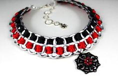 Recycled Pop Tabs Necklace, Black and Blood Red Satin Ribbon, Filigree & Red Rhinestones Pendant - Eco Friendly, Goth, Statement Necklace