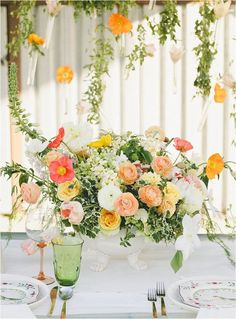 Coral and Green Wedding