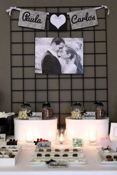 Mesa dulce para boda en blanco y negro - black and white sweet table for a wedding Perfect Wedding, Diy Wedding, Wedding Reception, Wedding Photos, Dream Wedding, Wedding Day, Ideas Para Fiestas, Candy Table, Marry Me
