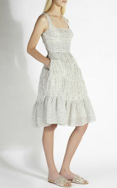 Pleated Boucle A-Line Dress by Rochas for Preorder on Moda Operandi