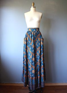 vintage 70s maxi skirt L / hippie festival skirt / floor length skirt / bohemian skirt by GazeboTree on Etsy