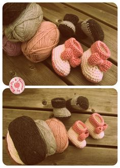 Crochet Baby Booties. Free Pattern here http://www.repeatcrafterme.com/2012/10/crochet-cuffed-baby-booties-pattern.html