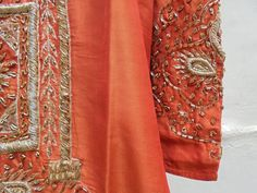 Beautiful Vintage Orange Silk Festival Kurta Hand Embroidered with Gold Thread Work. by LallibhaiIndia on Etsy