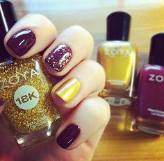 Fall nail trend faves - mixing trendy colors and doubling up the accent nail! Zoya Nail Polish in Toni with an accent in Zoya Goldie and Zoya Gilty - the 18k real gold topcoat! http://www.artofbeauty.com/content/38/category/Oxblood_Red_nail_polish.html?O=PN120927TH13214