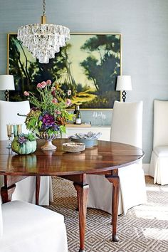 Dining Room with Antiques and New Pieces