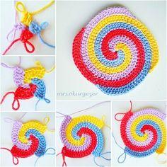 Wedding Ideas - All Ideas You Need Spiral Crochet Pattern, Crochet Leaf Patterns, Crochet Circles, Crochet Diagram, Crochet Motif, Crochet Stitches, Knitting Patterns, Crochet Ripple Blanket, Crochet Quilt