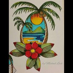 No photo description available. Traditional Tattoo Beach, Easy Drawings, Tattoo Drawings, Desenhos Old School, Tropical Tattoo, Pineapple Tattoo, Old School Tattoo Designs, Landscape Tattoo, Hawaiian Art