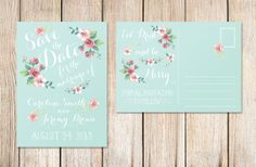Printable Save the Date Postcard mint by plpapers on Etsy, $20.00