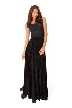 Burned Velvet Maxi Skirt by Black Milk Clothing $99AUD