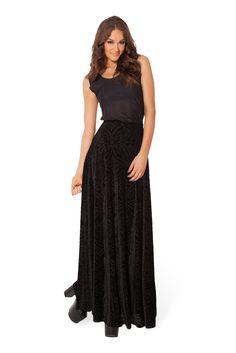 Burned Velvet Maxi Skirt by Black Milk Clothing $99AUD