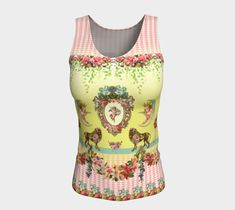 Cute Cherubs and Lions Vintage Flowers Whimsical Long Fitted, Tank Top, Yoga Top, Pretty Top, Pink Workout Wear, Active Wear, Dance Wear, Pink Workout, Workout Wear, Funky Cushions, Picasso Style, Vintage Moon, Yoga Tops, Vintage Flowers, Dance Wear, Cherubs