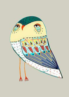 Lovely Owl. Wall Decor by Ashley Percival. Illustration art print.