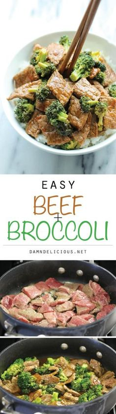 Fácil Beef e Broccoli - a melhor carne e brócolis feitas em apenas 15 min.  E sim, é mais rápido, mais barato e mais saudável do que take-out!  por Randi