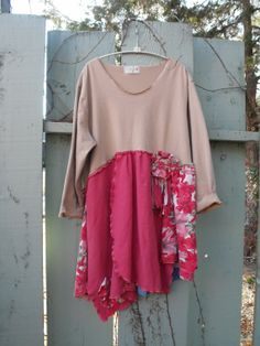 Camel and Pink Plus Size Upcycled Dress by SheerFab on Etsy, $72.00