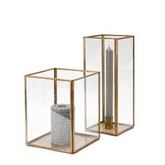 Kerzenhalter Sankari, Glas, Messing, 11x11x28 cm
