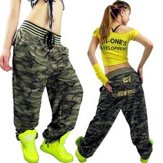 Hip hop pants Large pocket Casual pants Camouflage pants hiphop jeans Female trousers Loose Free shiping $31.76
