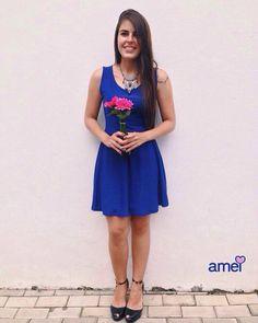 Azul da cor do mar #lojaamei #etiquetaamei #muitoamor #vestido #cinto #novidades
