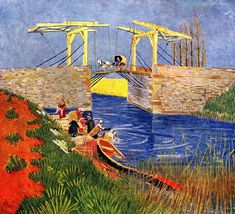 off Hand made oil painting reproduction of The Langlois Bridge at Arles with Women Washing, one of the most famous paintings by Vincent Van Gogh. In Vincent Van Gogh moved to Arles, where he is greatly inspired by its landscapes. Vincent Van Gogh, Van Gogh Art, Art Van, Pierre Auguste Renoir, Impressionist Artists, Dutch Painters, Post Impressionism, Paul Gauguin, Art Database