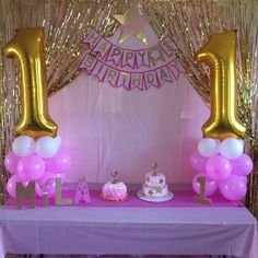 Pink and Gold Birthday Party Ideas . Pink and Gold Birthday Party Ideas . Pretty Pink and Gold Stars Birthday Party See More Party Pink And Gold Birthday Party, 1st Birthday Party For Girls, 13th Birthday Parties, Gold Party, Birthday Bash, Birthday Party Decorations, Birthday Ideas, Birthday Banners, Frozen Birthday