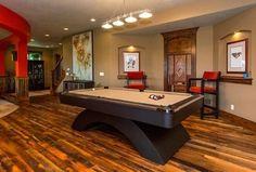 Transitional Game Room With Built In Bookshelf, Pendant Light, Craftmaster  Billiards Rainbow Pool Table, Hardwood Floors