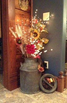fall decorating with milk can | Via Jill Theisen