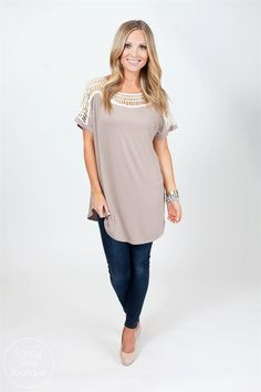 This tunic is Oh, so trendy for the season. You can never go wrong with a flowy, flattering crochet tunic!