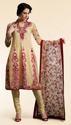 $89.60 Beige Full Sleeve Net Churidar Suit 13310