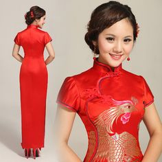 Gold phoenix red brocade long mandarin collar Chinese bridal wedding dress 086e822c7d19