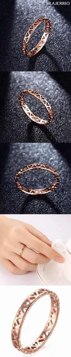 Lajerrio Jewelry Titanium Hollowed-out Heart Rose Gold Promise Rings For Her 811130