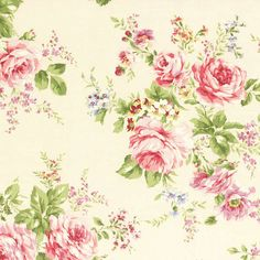 Rococo Sweet 2014 Large Rose Bouquets on Cream Cotton Fabric Lecien 30152-10