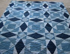 "Tsunami (Storm at Sea) 24"" blocks, made with old denims"