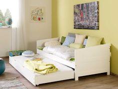 Białe łóżko parterowe Seart