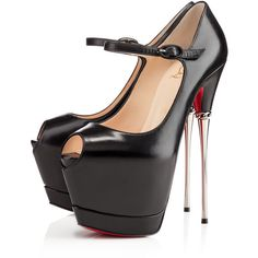 Christian Louboutin Printz (4.835 BRL) ❤ liked on Polyvore featuring shoes, pumps, heels, christian louboutin, high heels, louboutins, black, platforms, high heel pumps and leather pumps